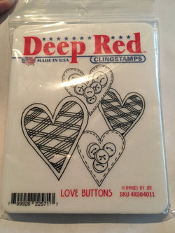 LOVE BUTTONS - DEEP RED RUBBER STAMPS