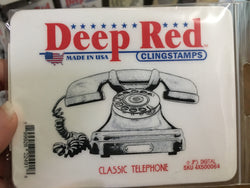 CLASSIC TELEPHONE DEEP RED RUBBER STAMPS