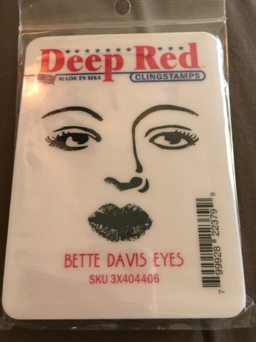 BETTE DAVIS EYES DEEP RED RUBBER STAMPS