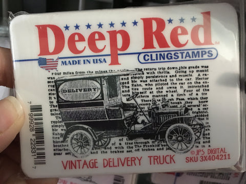 VINTAGE DELIVERY TRUCK - DEEP RED RUBBER STAMPS