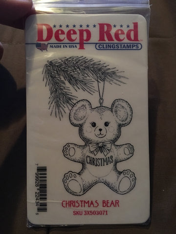 CHRISTMAS BEAR DEEP RED RUBBER STAMPS