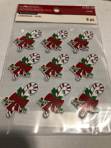 PUFFY CANDY CANES 3D STICKERS - RECOLLECTIONS