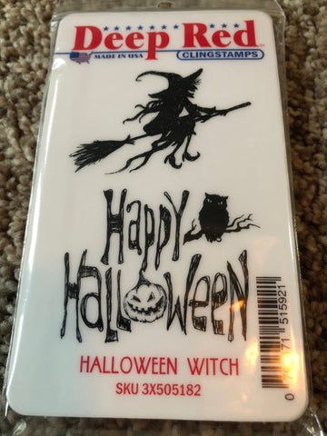 HALLOWEEN WITCH - DEEP RED RUBBER STAMPS