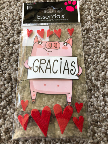 GRACIAS PIGGY - SANDYLION ESSENTIALS 3D STICKERS