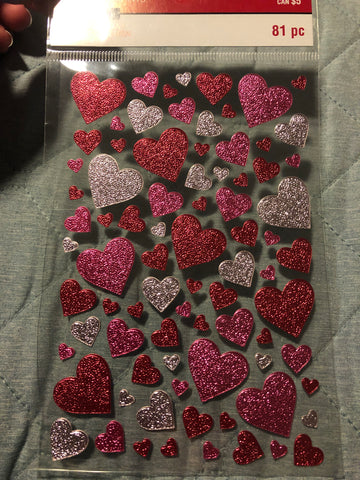 FOILED PINK AND RED HEARTS VALENTINE - RECOLLECTIONS STICKERS
