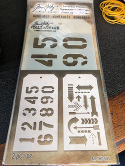 IDEA-OLOGY LAYERING STENCIL NUMBERED//ARROW PACK OF TWO TIM HOLTZ