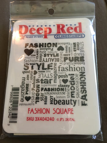 FASHION SQUARE DEEP RED RUBBER STAMPS