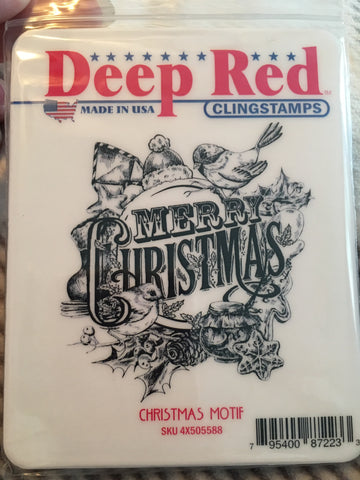 CHRISTMAS MOTIF - DEEP RED RUBBER STAMPS
