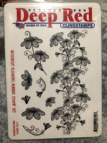 WOODCUT FLOWERS DEEP RED RUBBER STAMPS