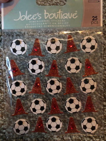 SOCCER BALLS AND CONE REPEATS - Jolee's Boutique Stickers