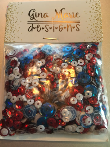 USA RED WHITE & BLUE SEQUIN MIX - Gina Marie Designs