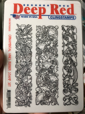 ORNAMENTAL VINES - DEEP RED XL STAMP SET