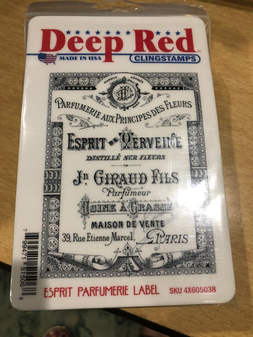 ESPRIT PARFUMERIE LABEL - DEEP RED RUBBER STAMPS