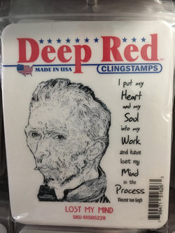LOST MY MIND DEEP RED RUBBER STAMPS