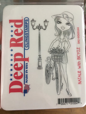 NATALIE WITH BIKE STAMP - DEEP RED RUBBER STAMP