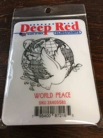 WORLD PEACE DEEP RED RUBBER STAMPS