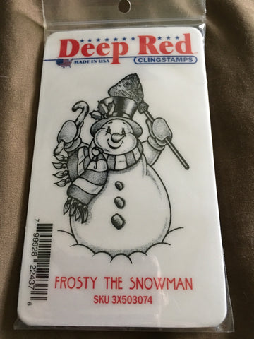 FROSTY THE SNOWMAN DEEP RED RUBBER STAMPS