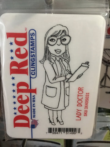 LADY DOCTOR - DEEP RED RUBBER STAMPS