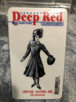VINTAGE SKATING GIRL DEEP RED RUBBER STAMPS