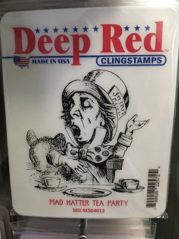 MAD HATTER TEA PARTY DEEP RED RUBBER STAMPS