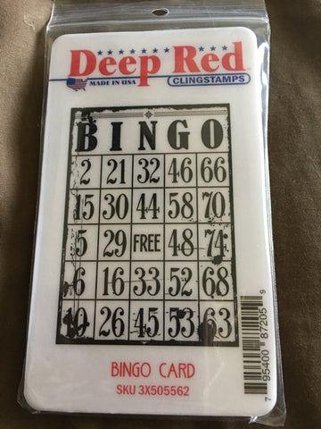 BINGO CARD DEEP RED RUBBER STAMPS