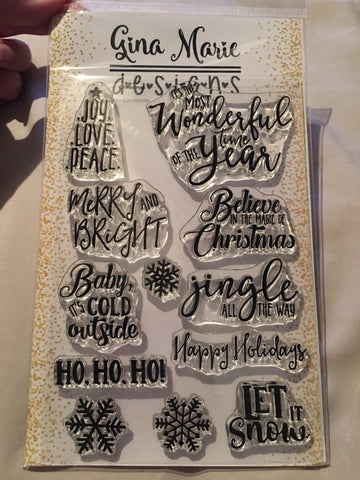 CHRISTMAS SENTIMENTS STAMP SET - Gina Marie Designs
