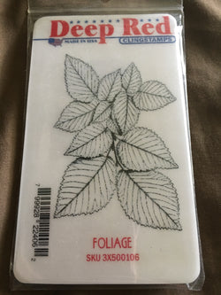 FOLIAGE DEEP RED RUBBER STAMPS