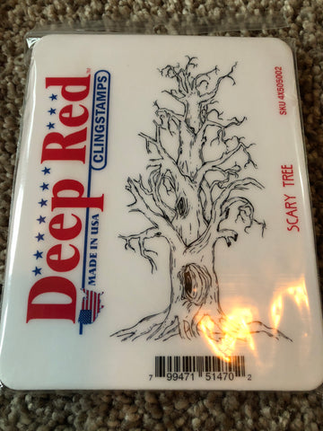 SCARY TREE - DEEP RED RUBBER STAMPS