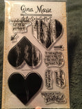 WOODGRAIN HEART LAYERED STAMP SET - Gina Marie Designs