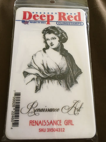 RENAISSANCE GIRL DEEP RED RUBBER STAMPS