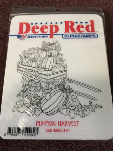 PUMPKIN HARVEST DEEP RED RUBBER STAMPS