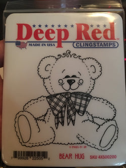 BEAR HUG - DEEP RED RUBBER STAMPS