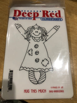 HUG THIS MUCH - DEEP RED RUBBER STAMPS