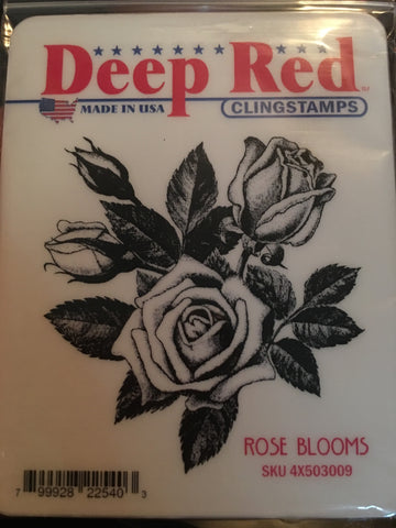 ROSE BLOOMS - DEEP RED RUBBER STAMPS