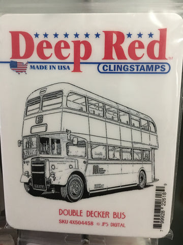 DOUBLE DECKER BUS DEEP RED RUBBER STAMPS