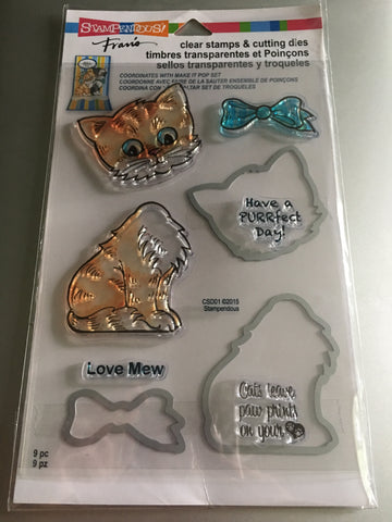 CAT STAMPENDOUS CLEAR STAMP AND DIE SET