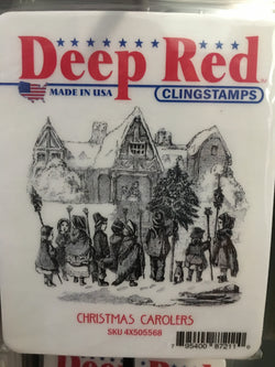 CHRISTMAS CAROLERS DEEP RED RUBBER STAMPS