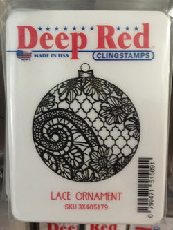 LACE ORNAMENT - DEEP RED RUBBER STAMPS