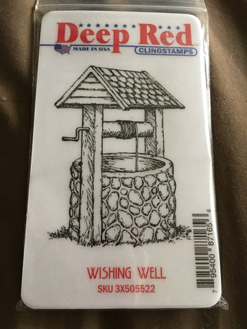 WISHING WELL DEEP RED RUBBER STAMPS