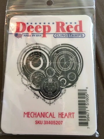 MECHANICAL HEART DEEP RED RUBBER STAMPS