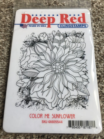 COLOR ME SUNFLOWER - DEEP RED RUBBER STAMPS