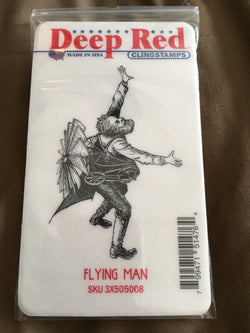 FLYING MAN - DEEP RED RUBBER STAMPS