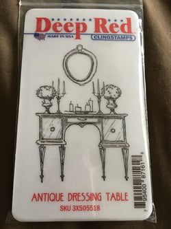 ANTIQUE DRESSING TABLE DEEP RED RUBBER STAMPS