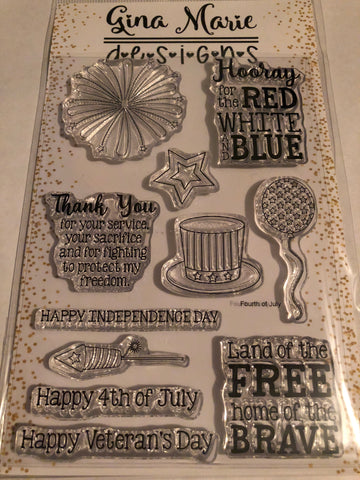 FOURTH OF JULY STAMP SET MILITARY - Gina Marie Designs