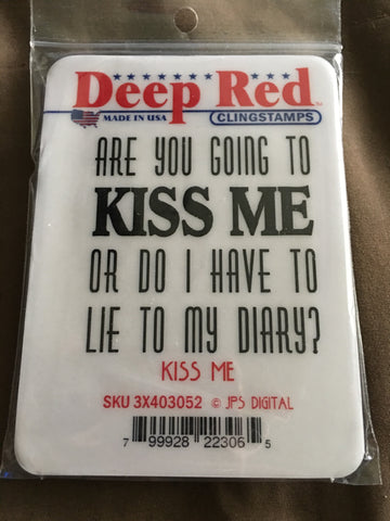 KISS ME DEEP RED RUBBER STAMPS