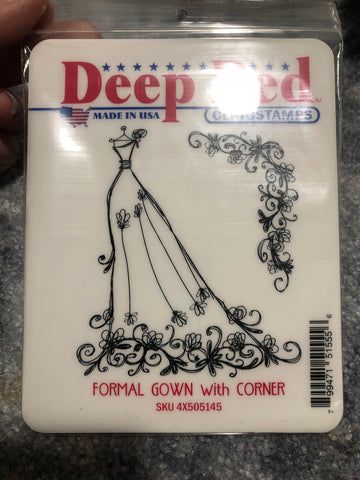 FORMAL GOWN WITH CORNER - DEEP RED RUBBER STAMPS