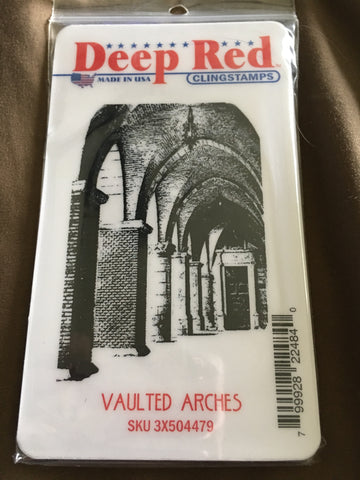 VAULTED ARCHES DEEP RED RUBBER STAMPS