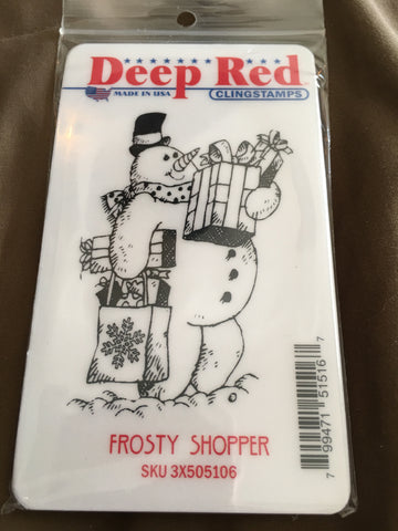 FROSTY SHOPPER - DEEP RED RUBBER STAMPS