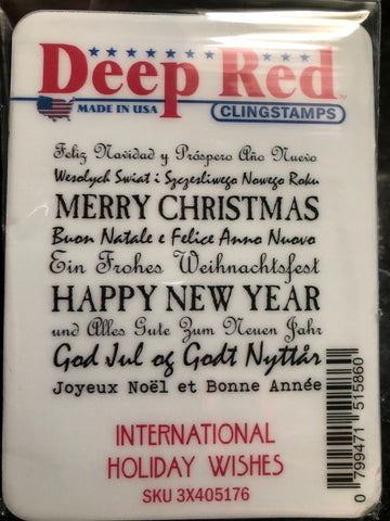 INTERNATIONAL HOLIDAY WISHES - deep red rubber stamps