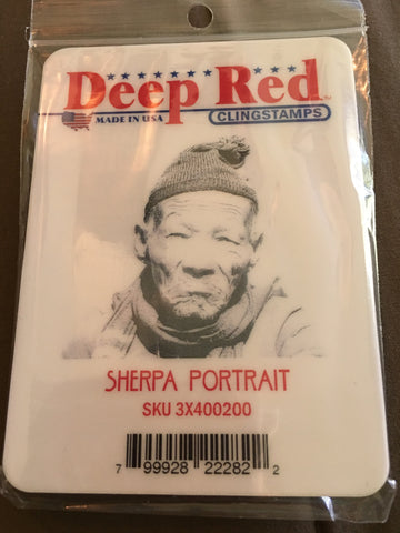 SHERPA PORTRAIT DEEP RED RUBBER STAMPS